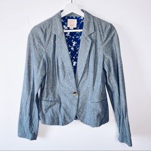 Quiksilver Blue Denim Chambray Floral Blazer S EUC